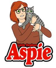 drawing of little orphan Aspie and her cat